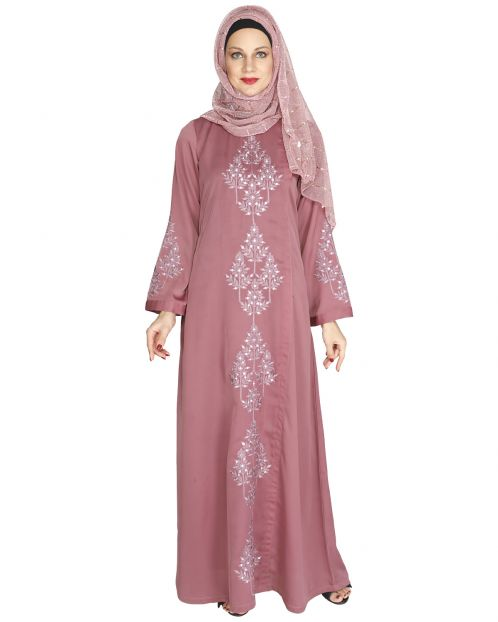 Prismatic Mirror Work Pink Abaya