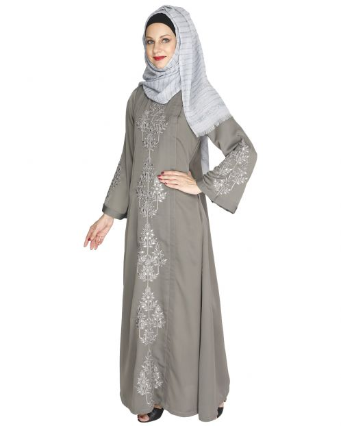Prismatic Mirror Work Grey Abaya