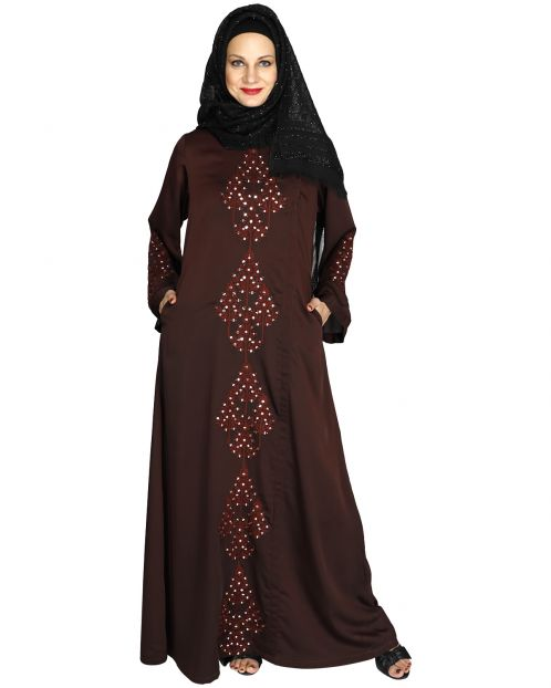 Prismatic Mirror Work Wine Abaya