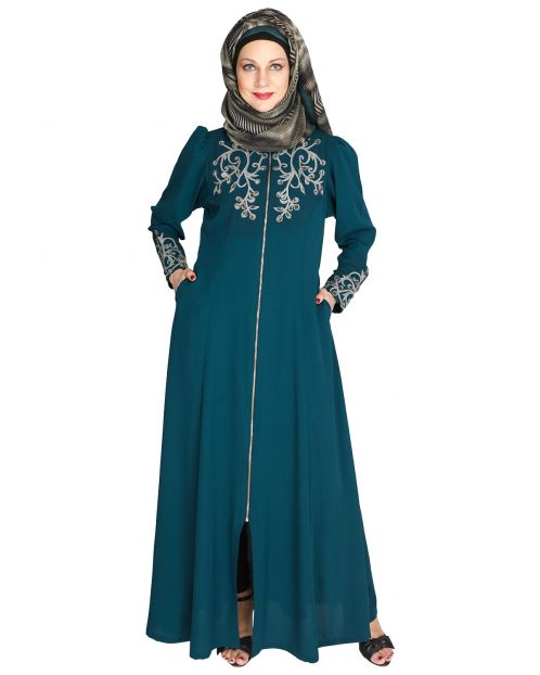 Feather Shot Bottle Green Abaya