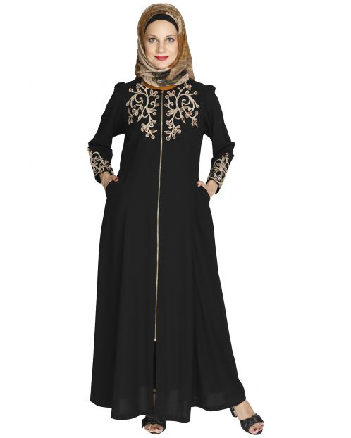 Feather Shot Black Abaya