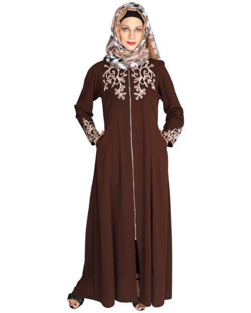 Feather Shot coffee Brown Abaya