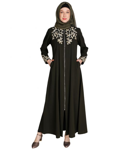 Feather Shot Dark Olive Abaya