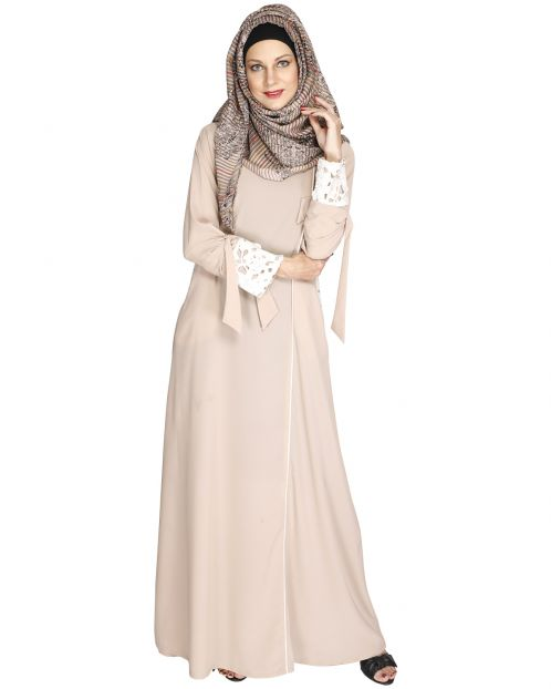 Light Beige Lace & Bow Detailed Abaya
