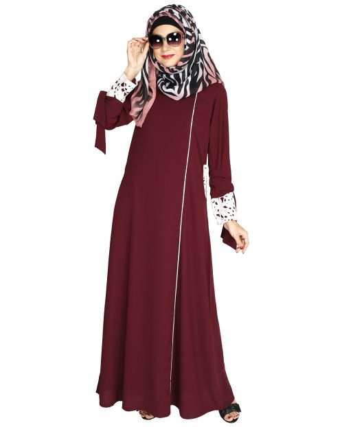 Purple Lace & Bow Detailed Abaya