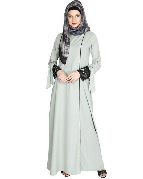 Sage Green Lace & Bow Detailed Abaya