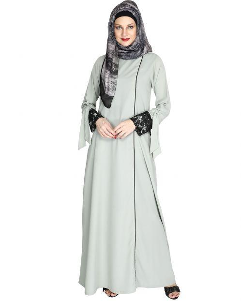 Sage Green Lace & Bow Detailed Abaya