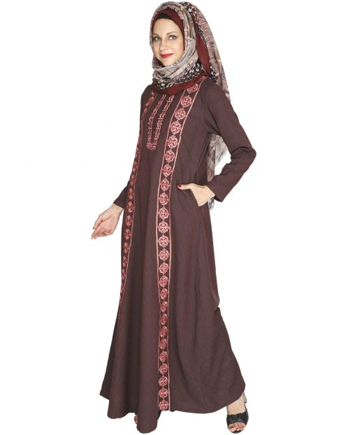 Descent Chikan Onion Pink Abaya