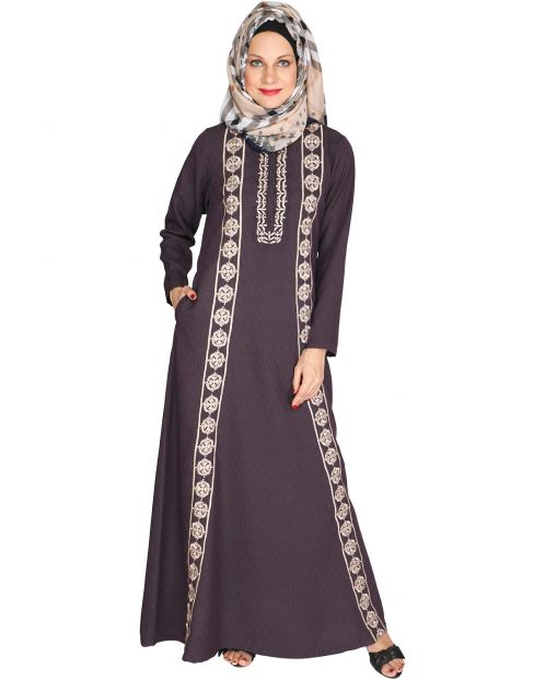 Descent Chikan Purple Abaya