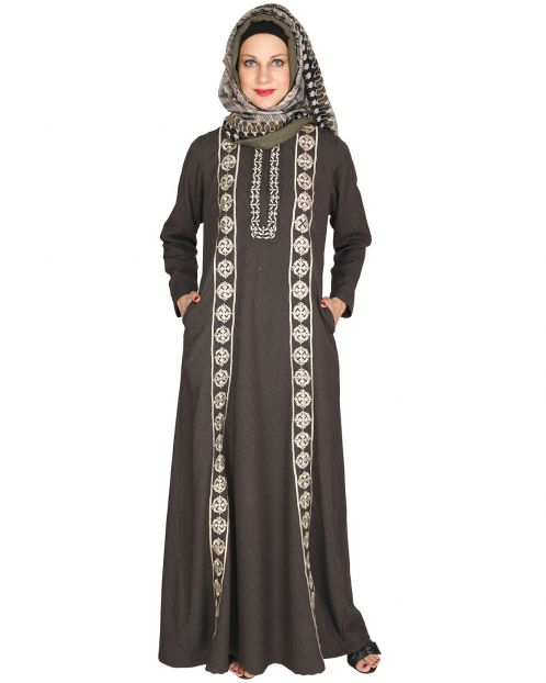 Descent Chikan Umber Brown Abaya