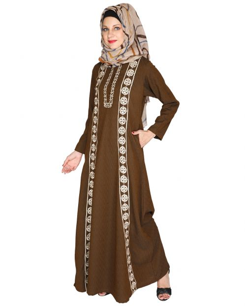 Descent Chikan Brown Abaya