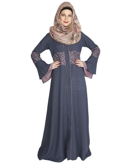 Jingle Bell Steel Blue Abaya