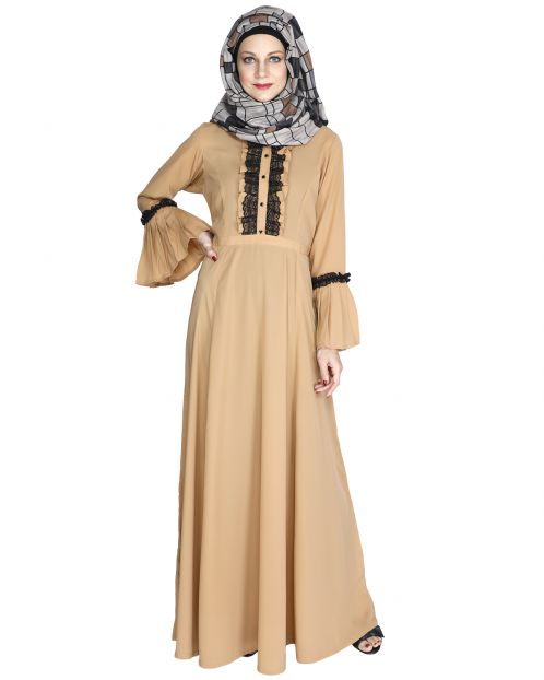 Fairy Frill Caramel Brown Abaya