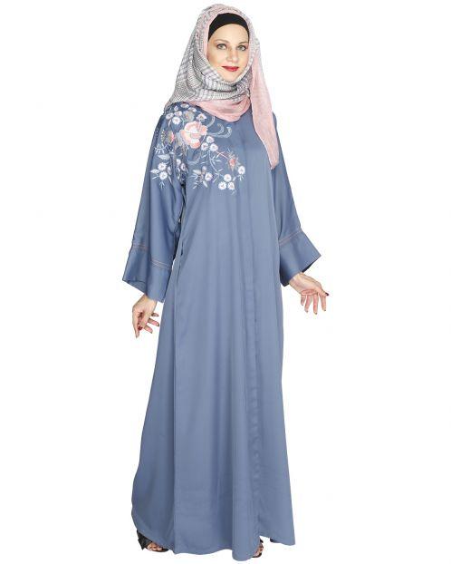 Daisy Drill Bluish Grey Abaya
