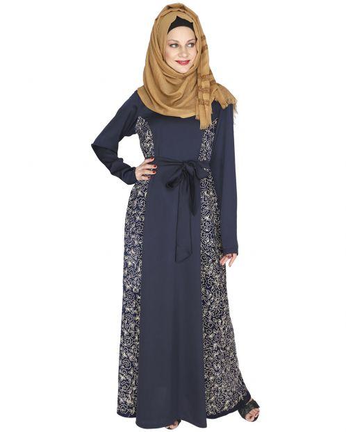 Opulent Blue Velt Abaya