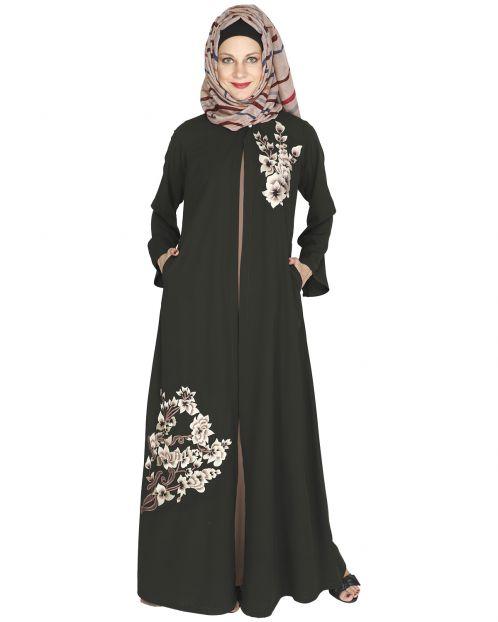 Beckon Olive Green Jacket Style Abaya