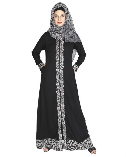Mushroom embroidered black Abaya