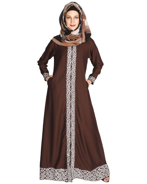 Mushroom embroidered brown Abaya