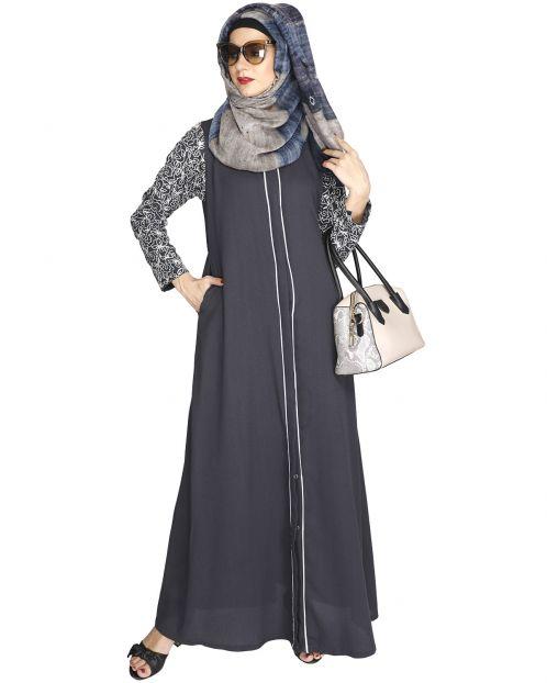 Role down Grey Abaya