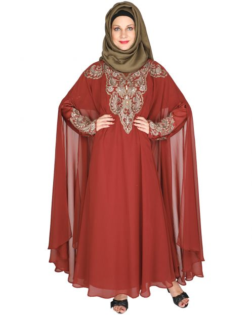 Luxury Brick Red Irani Kaftan