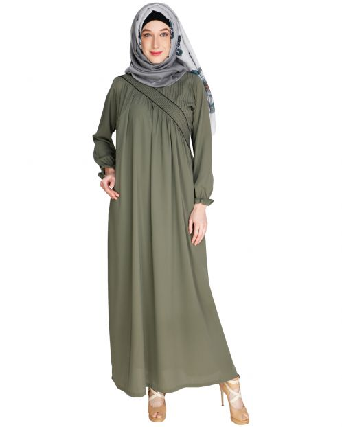 Gathered Dead Mint Abaya