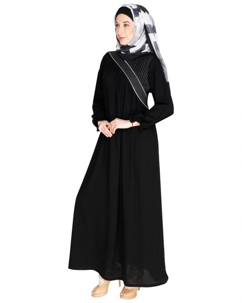 Gathered Black Abaya