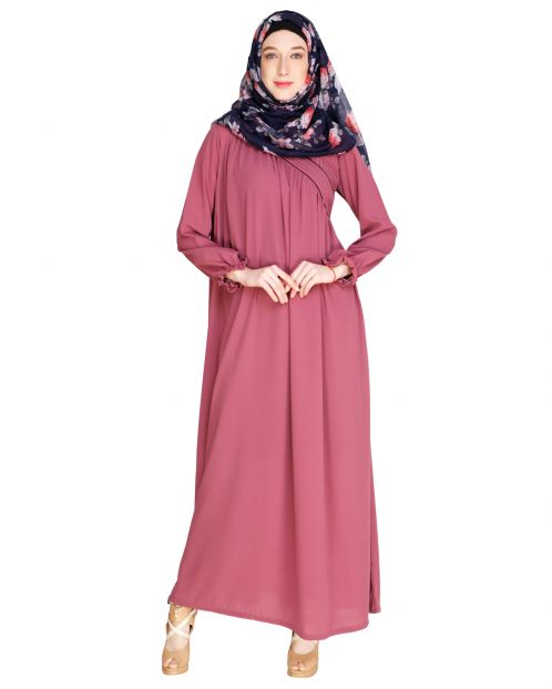 Gathered Onion Pink Abaya