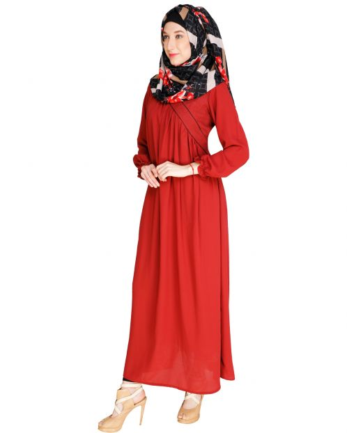 Gathered Maroon Abaya