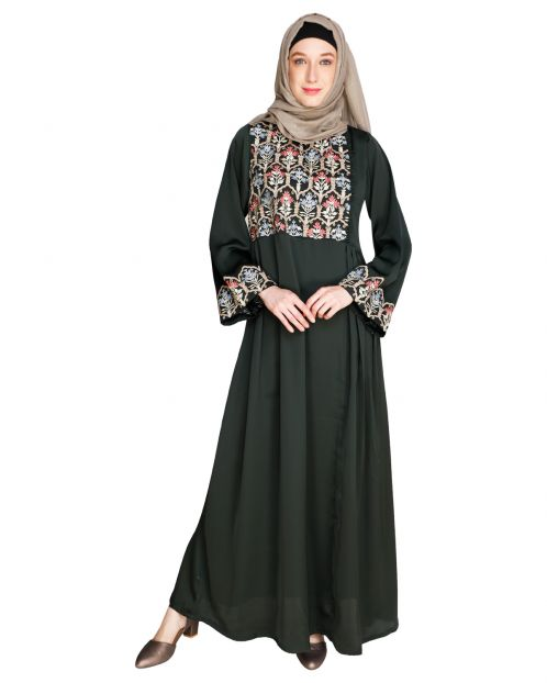 Majorelle Floral Olive Green Pleated Abaya