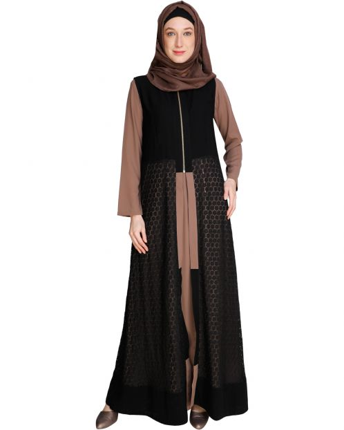 Lace Jacket Onion Pink Abaya