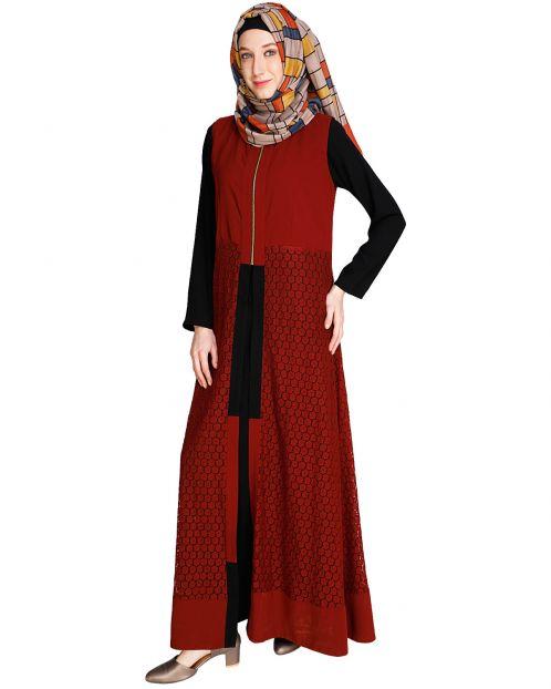 Lace Jacket Maroon Abaya