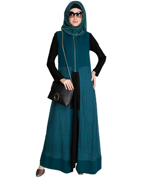 Lace Jacket Bottle Green Abaya