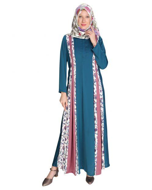 Printed Panel Maxi Dress