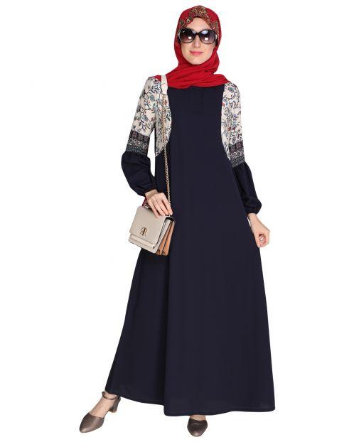 Printed Blue Abaya