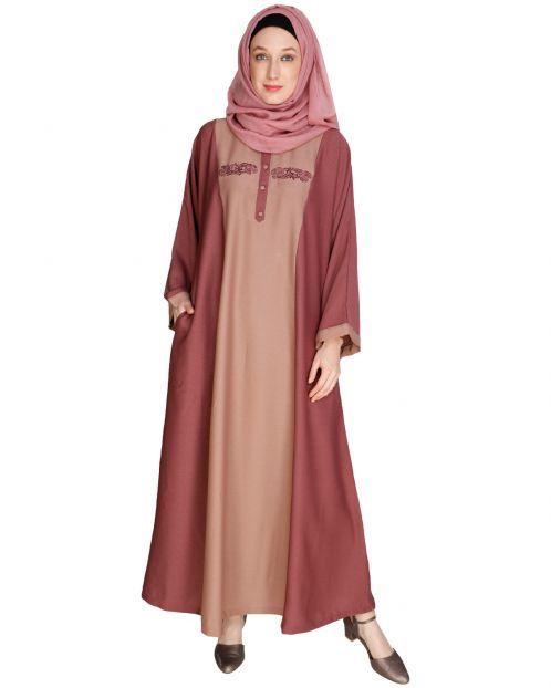 Panelled Dubai Style Onion Pink Abaya
