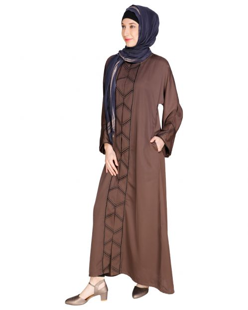 Classic Button down Brown Abaya