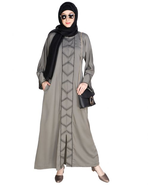 Classic Button down Grey Abaya