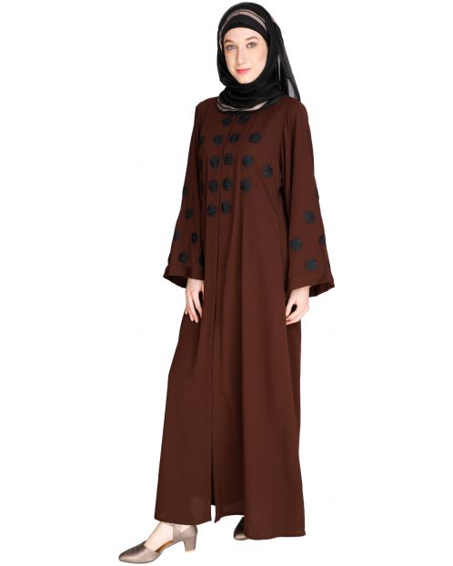 Flowless Dark Brown Abaya