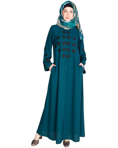 Flowless Bottle Green Abaya