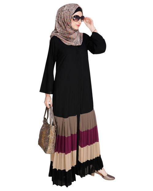 Pleated Black Abaya