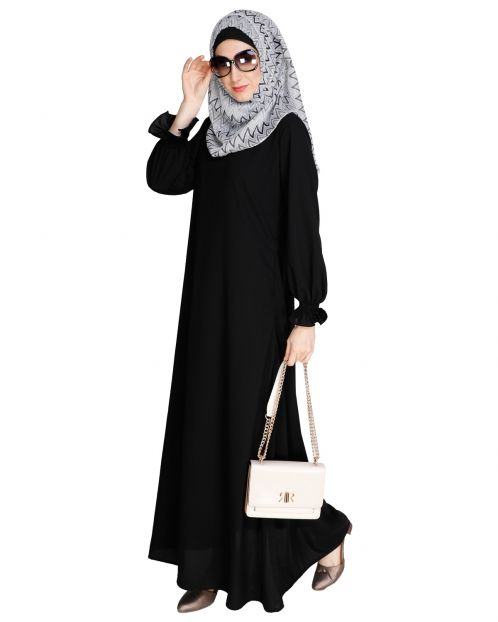 Gathered Sleeves Black Abaya