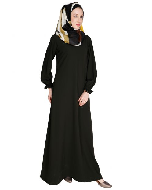 Gathered Sleeves Olive Abaya