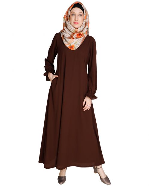 Gathered Sleeves Brown Abaya