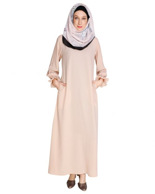Gathered Sleeves Beige Abaya