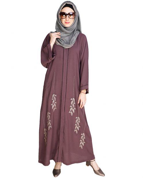 Classic Dubai Style Onion Pink Abaya