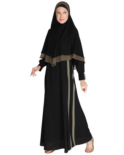 Black Abaya with Hijab Set
