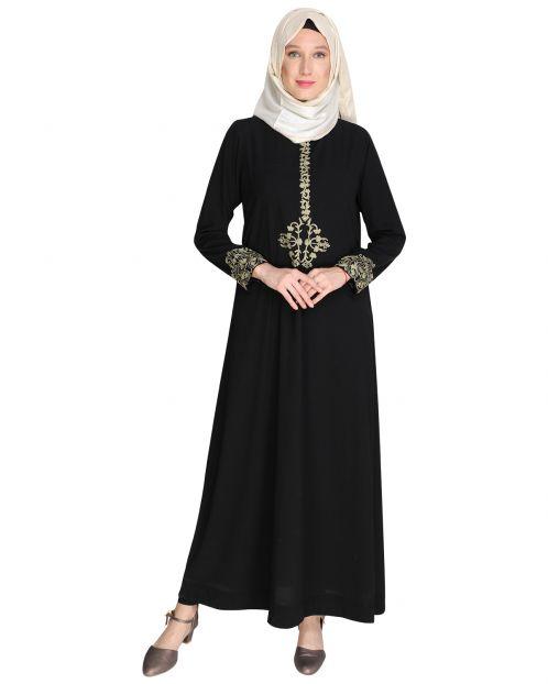 Persian Embroidered Black Abaya