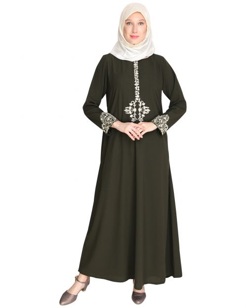 Persian Embroidered Olive Green Abaya