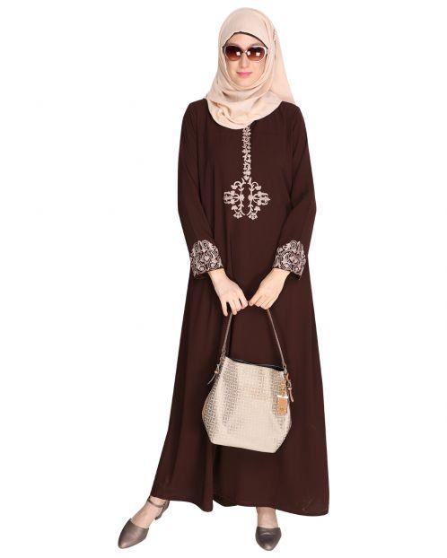 Persian Embroidered Brown Abaya