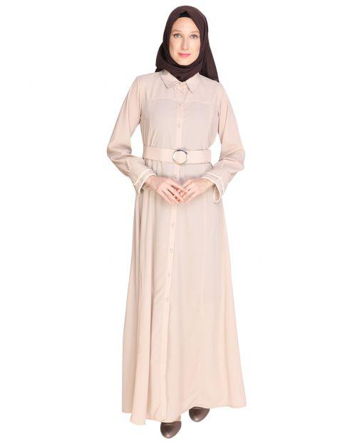 Shirt Style Beige Maxi Dress
